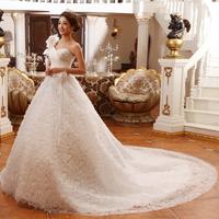 2013 big train wedding dress one shoulder sweet princess luxury long trailing wedding dress