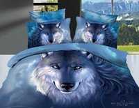 High-quality!4pcs bedding sets cotton Printed the bed linen queen size duvet cover flat sheet bed clothes The Wolf5066