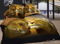 High-quality!4pcs bedding sets cotton Printed the bed linen king queen size duvet cover bedclothes The lion 5070