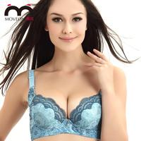 Adjustable women's underwear sexy massage oil wide strap bra accept supernumerary breast push up bra