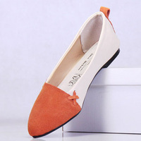 Hot selling cowhide color block cow muscle  slip on flat  single shoes women's genuine leather nurse shoes lady casual shoes