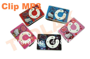 New Glossy Cute Hello Kitty Clip gift MP3 music Player Mix colo support