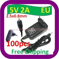 100 pcs Free Shipping 2A AC Home Wall EU Plug Charger Power ADAPTER w 2.5mm Cord for MID Google Android Tablet