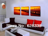 Framed 3 Piece   Wall Painting Sunset River Bridge Home Decorative Oil Painting Picture Printed On CanvasLa-384