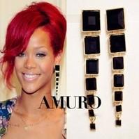 2014 New Drop Earring Fashion Brincos Celebrity Style Rihanna Black Acrylic Gold Dangle Earrings For Women Costume Jewelry