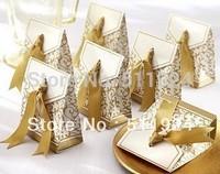 Free Shipping 100 Pcs Gold Ribbon Wedding favour box Party Candy Box Favor Gift Boxes wedding box