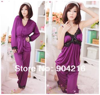 Fashion New Sexy Lingerie Women's Exotic Clothing Underwear Robe Sleepwear Pajama 4PCS Set Nightwear Free Shipping 2 Colors#5054