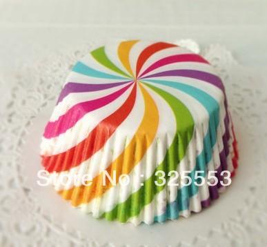 500pcs Rainbow Swirl Cupcake Liners Greasproof(China (Mainland))