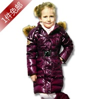 2013 children down jacket with big fur colloar  media - long design slim waist winter warm down coat for boys  for girls