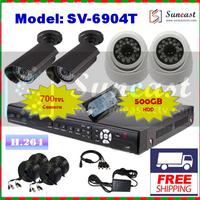 DIY Free Shipping Effio-E 700TVL CCTV System 4CH Security Kit with 500GB HDD Full D1 DVR Surveillance Parcel SV-6904T