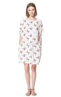 Free Shipping Newest US Loose Chiffon Print O-neck Fashion Dress With Belt\Sweet Style Short Sleeve Straight Type Women Dress