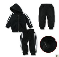 Baby girls boys striped sporting clothing set girl's boy's black active 2pcs suits stripe  clothes sets hoody + pants retail