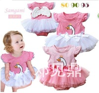 Free shipping 2013 Summer Children's clothing girl baby Swan Wings Rompers dress Gilrs TUTU dresses