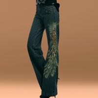 Plus size pants loose jeans embroidery paillette pants feet high waist wide leg pants thin
