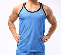 Free Shipping 100% Polyester Men Vest Mens Active Undershirt Men Sport Tank Tops Mesh underwear 4 Colors 3 Sizes