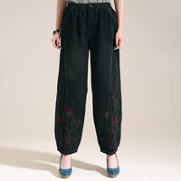 2013 spring loose casual high waist embroidery wide leg pants bloomers ankle length trousers casual trousers long