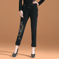 2013 spring plus size national trend embroidered casual pants high waist long trousers pants slim skinny pants