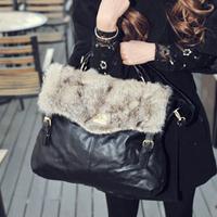 2013 women's one shoulder handbag fur bag rabbit fur bag vintage bags bag handbag cross-body