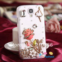 cell phone case covers for samsung galaxy S4 I9500 I9508,4 color,crystal rhinestone rose flower ballet dance girl,free shipping