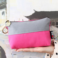 Brief color block decoration cosmetic bag fashion three-color mini women's patch the trend of the canvas bag 58