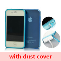for iphone4/4s case, high quality clear soft TPU case for iphone4/4s, with dust cover, DHL free shipping