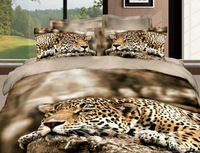 High-quality!4pcs bedding sets cotton Printed the bed linen queen size duvet cover bedclothes The Lying down  leopard5100
