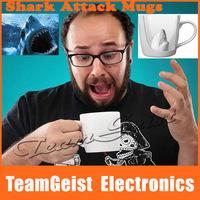 2 pair/lot Creative Shark Attack Coffee Mugs cups, crazy horrible Mug cups, Nice Gift & supprise Ceramic Mug Free Shipping