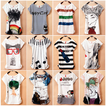 Short-sleeve t-shirt white female slim cartoon animal stripe graphic patterns juniors clothing