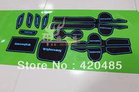Free Shipping! 13 Hyundai New Santa Fe IX45 2013 Non-Slip Interior Door Slot Mat Pad Cup Mat Blue 12pcs