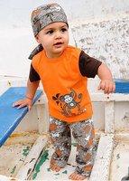 2013 New Arrive Toddler Boys' Summer Clothing Sets (t shirt+ Pants+ Headwear)3pcs, Boys' beach Clothes monkey pattern 10sets/lot