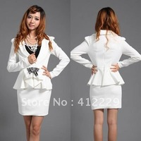 2013 white sheath elegant ruffles formal turn down collar party bud cute mini slim office ladies's women's dress