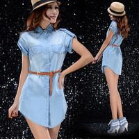 2014 sutumn new denim shorts Fashion short-sleeve denim dress Women shirt dress novelty women's jeans cotton blouse the jacket