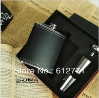 7 oz black leather stoup set, stainless steel hip flask, man had little hip, funnel, cups