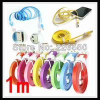 Wholesale 20pcs/lot 1m Flat Type Micro USB Extension Data Sync Charging Cable For PDA Cell Phone