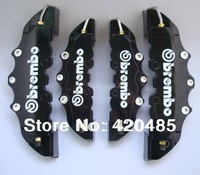 4pcs Black Color With White 3D Brembo ABS Front+Rear Disc Brake Caliper Cover Universal Kit