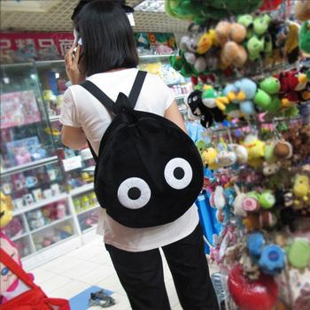 Bag totoro fairy black ball double-shoulder school bag back cartoon plush toy