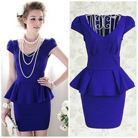 2013 blue solid pleated elegant ruffles slim evening short sleeve party mini office ladies women's dress