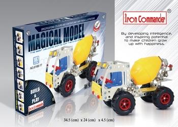 Diy metal alloy assembly car educational toys model concrete mixer truck