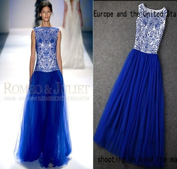 wholesale europe vintage embroidery blue-and-white ceramics print long dress ball gown ankle-length