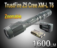 Trustfire Z5 CREE XM-L T6 LED 5 Mode 1600 Lumens Flashlight  Zoomable Flashlight Adjustable Torch+2*4000mAh battery+charger