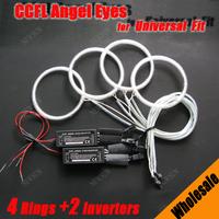 10 Sets CCFL Angel Eyes Kit 8000K Halo Rings universal fit car ccfl headlights 4 rings and 2 waterproof inverters