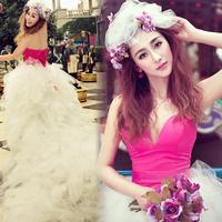 2013 spring and summer fashion feather wedding dress formal dress princess wedding dress ultralarge yarn low-high wedding