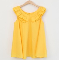 One-piece dress summer sweet cute shirt miniskirt loose sleeveless ruffle collar dress