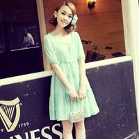 2013 chiffon one-piece dress high waist square collar slim dress layered preppy style beach dress
