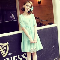 2013 chiffon one-piece dress high waist square collar slim dress layered preppy style beach dress