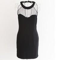 Sexy women one-piece dress halter-neck gauze perspective slim hip miniskirt