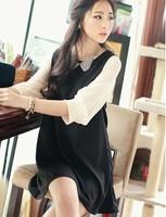 2013 women's spring and autumn one-piece dress fashion slim wrist-length sleeve chiffon patchwork dress doll