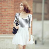2013 organza summer one-piece dress slim o-neck stripe high waist half sleeve sweet small fresh
