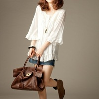 women Blouses 2013 spring top female national trend flare sleeve lace lotus leaf sweep cotton