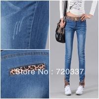 3318 New Arrival mid waist elastic waist parallel lines slim elastic skinny jeans